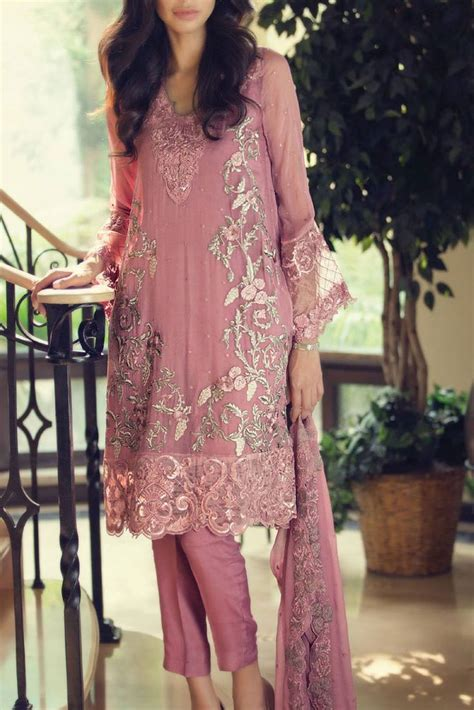 This dull tea pink embroidered chiffon dress by Maria B
