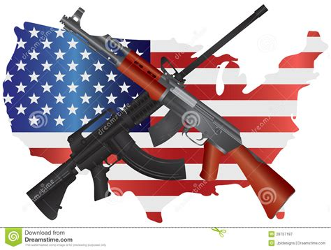 Assault Rifles With USA Map Flag Illustration Stock Vector