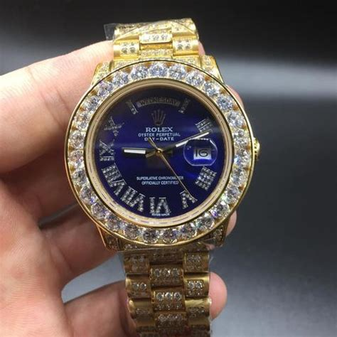 FULLY FLOODED Iced out gold rolex day date BLUE dial