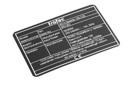 Laser engraving dataplates and industrial plaques GB