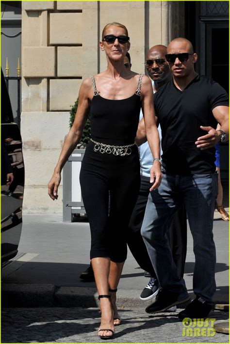 Celine Dion Strikes a Stylish Pose in Chanel While in