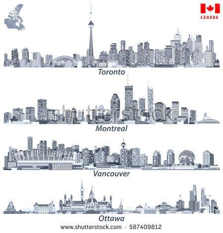 vector illustrations of Canadian cities Toronto, Montreal