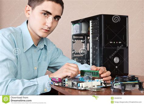 Young computer engineer stock photo