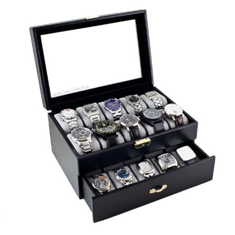 Caddy Bay Collection Black Classic Watch Case Display Box