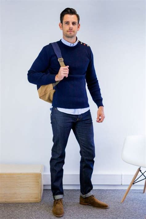 jeans, a navy sweater and a shirt, suede shoes | Mens